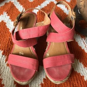 Merona coral colored wedge sandals. Size 7.5